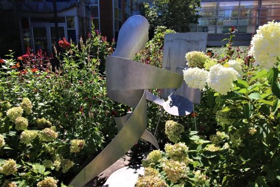 Sculpture in the Delaplaine flower garden
